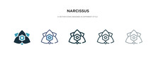 Narcissus Icon In Different Style Vector Illustration. Two Colored And Black Narcissus Vector Icons Designed In Filled, Outline, Line And Stroke Style Can Be Used For Web, Mobile, Ui