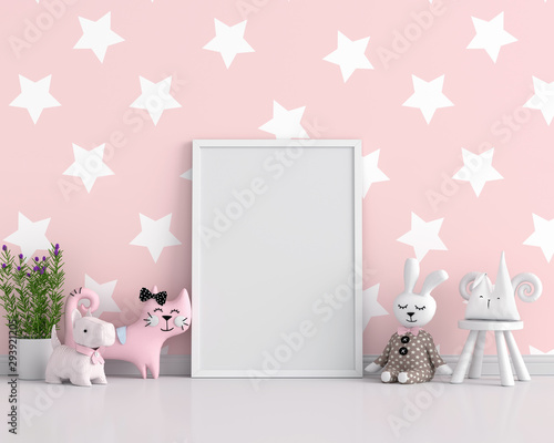 Empty photo frame for mockup in child room, 3D rendering Wall mural
