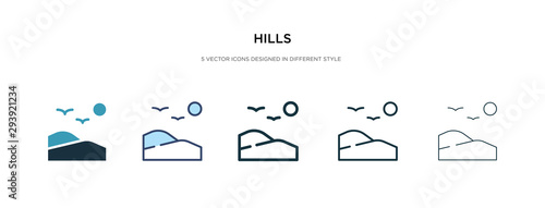 Fototapeta hills icon in different style vector illustration. two colored and black hills vector icons designed in filled, outline, line and stroke style can be used for web, mobile, ui obraz