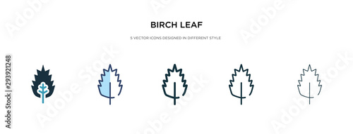 birch leaf icon in different style vector illustration Wallpaper Mural