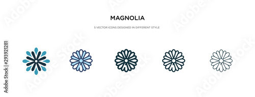 Photo magnolia icon in different style vector illustration