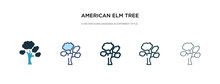 American Elm Tree Icon In Different Style Vector Illustration. Two Colored And Black American Elm Tree Vector Icons Designed In Filled, Outline, Line And Stroke Style Can Be Used For Web, Mobile, Ui