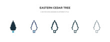 Eastern Cedar Tree Icon In Different Style Vector Illustration. Two Colored And Black Eastern Cedar Tree Vector Icons Designed In Filled, Outline, Line And Stroke Style Can Be Used For Web, Mobile,