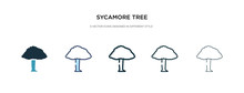 Sycamore Tree Icon In Different Style Vector Illustration. Two Colored And Black Sycamore Tree Vector Icons Designed In Filled, Outline, Line And Stroke Style Can Be Used For Web, Mobile, Ui