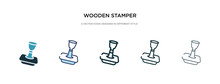 Wooden Stamper Icon In Different Style Vector Illustration. Two Colored And Black Wooden Stamper Vector Icons Designed In Filled, Outline, Line And Stroke Style Can Be Used For Web, Mobile, Ui