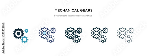 Cuadros en Lienzo mechanical gears icon in different style vector illustration