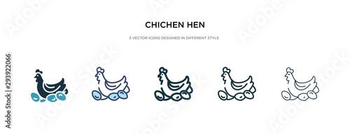 Photo chichen hen icon in different style vector illustration
