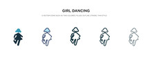 Girl Dancing Icon In Different...