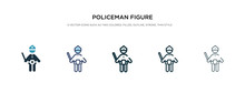Policeman Figure Icon In Diffe...