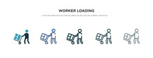 Worker Loading Icon In Different Style Vector Illustration. Two Colored And Black Worker Loading Vector Icons Designed In Filled, Outline, Line And Stroke Style Can Be Used For Web, Mobile, Ui