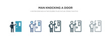 Man Knocking A Door Icon In Di...