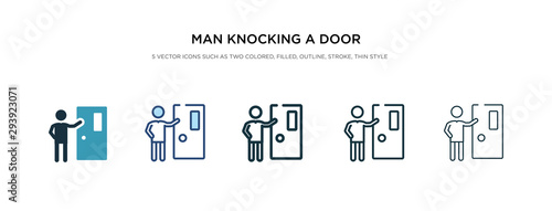 man knocking a door icon in different style vector illustration Fototapete