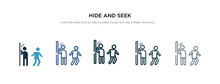 Hide And Seek Icon In Different Style Vector Illustration. Two Colored And Black Hide And Seek Vector Icons Designed In Filled, Outline, Line Stroke Style Can Be Used For Web, Mobile, Ui