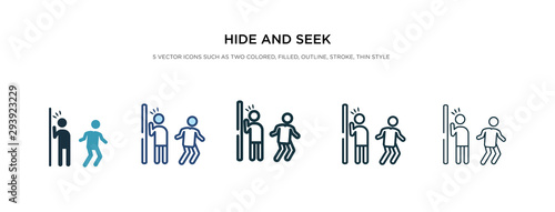 Fotografía  hide and seek icon in different style vector illustration