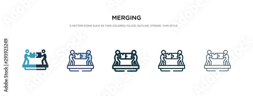 Photo merging icon in different style vector illustration