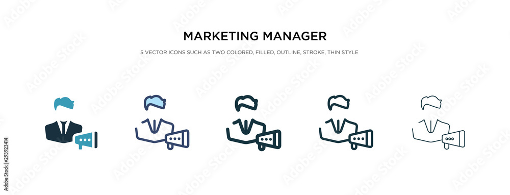 Fototapeta marketing manager icon in different style vector illustration. two colored and black marketing manager vector icons designed in filled, outline, line and stroke style can be used for web, mobile, ui
