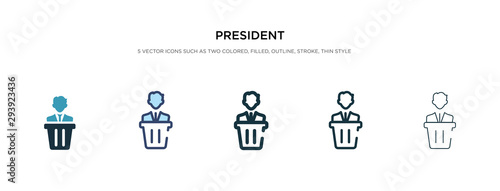 Photo president icon in different style vector illustration