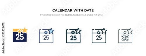 calendar with date icon in different style vector illustration Fototapet
