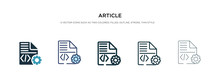 Article Icon In Different Style Vector Illustration. Two Colored And Black Article Vector Icons Designed In Filled, Outline, Line And Stroke Style Can Be Used For Web, Mobile, Ui