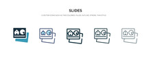 Slides Icon In Different Style Vector Illustration. Two Colored And Black Slides Vector Icons Designed In Filled, Outline, Line And Stroke Style Can Be Used For Web, Mobile, Ui