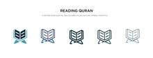 Reading Quran Icon In Differen...
