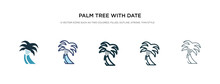 Palm Tree With Date Icon In Di...