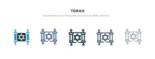 Torah Icon In Different Style Vector Illustration. Two Colored And Black Torah Vector Icons Designed In Filled, Outline, Line And Stroke Style Can Be Used For Web, Mobile, Ui