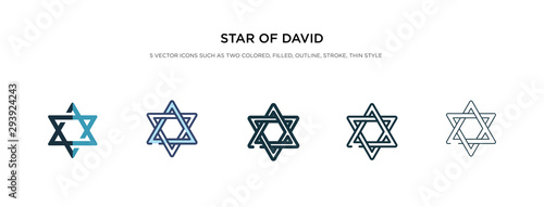Photo  star of david icon in different style vector illustration