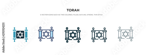 Photo torah icon in different style vector illustration