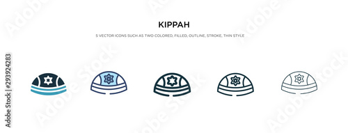 Fototapeta kippah icon in different style vector illustration. two colored and black kippah vector icons designed in filled, outline, line and stroke style can be used for web, mobile, ui obraz