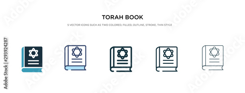 Photo torah book icon in different style vector illustration