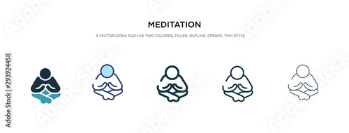 Obraz meditation icon in different style vector illustration. two colored and black meditation vector icons designed in filled, outline, line and stroke style can be used for web, mobile, ui - fototapety do salonu