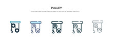 Pulley Icon In Different Style Vector Illustration. Two Colored And Black Pulley Vector Icons Designed In Filled, Outline, Line And Stroke Style Can Be Used For Web, Mobile, Ui