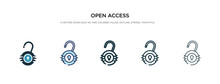 Open Access Icon In Different Style Vector Illustration. Two Colored And Black Open Access Vector Icons Designed In Filled, Outline, Line And Stroke Style Can Be Used For Web, Mobile, Ui