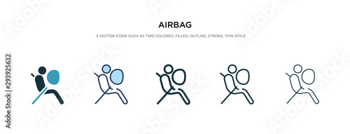 airbag icon in different style vector illustration Wallpaper Mural