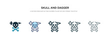 Skull And Dagger Icon In Different Style Vector Illustration. Two Colored And Black Skull And Dagger Vector Icons Designed In Filled, Outline, Line Stroke Style Can Be Used For Web, Mobile, Ui