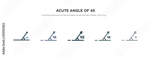 acute angle of 45 degrees icon in different style vector illustration Wallpaper Mural