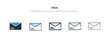 Mail Icon In Different Style Vector Illustration. Two Colored And Black Mail Vector Icons Designed In Filled, Outline, Line And Stroke Style Can Be Used For Web, Mobile, Ui