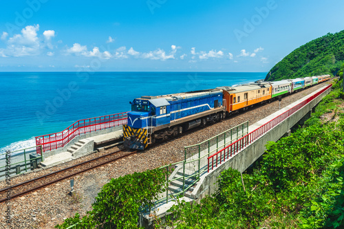 Train approaching the Duoliang Station in Taitung Canvas