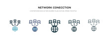 Network Conecction Icon In Different Style Vector Illustration. Two Colored And Black Network Conecction Vector Icons Designed In Filled, Outline, Line And Stroke Style Can Be Used For Web, Mobile,