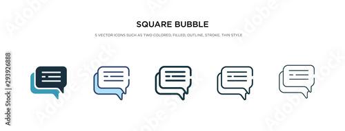 Fotografia square bubble icon in different style vector illustration