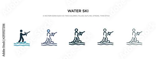 Fényképezés water ski icon in different style vector illustration