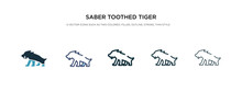 Saber Toothed Tiger Icon In Di...