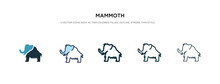 Mammoth Icon In Different Style Vector Illustration. Two Colored And Black Mammoth Vector Icons Designed In Filled, Outline, Line And Stroke Style Can Be Used For Web, Mobile, Ui