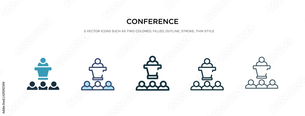Fototapeta conference icon in different style vector illustration. two colored and black conference vector icons designed in filled, outline, line and stroke style can be used for web, mobile, ui