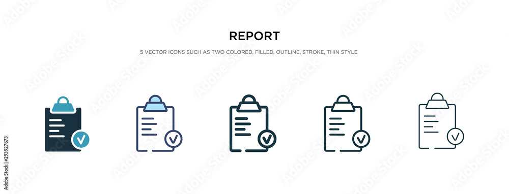 Fototapeta report icon in different style vector illustration. two colored and black report vector icons designed in filled, outline, line and stroke style can be used for web, mobile, ui