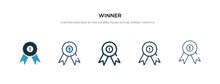 Winner Icon In Different Style Vector Illustration. Two Colored And Black Winner Vector Icons Designed In Filled, Outline, Line And Stroke Style Can Be Used For Web, Mobile, Ui