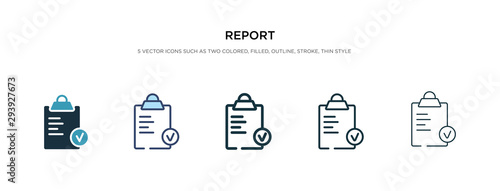 Fototapeta report icon in different style vector illustration. two colored and black report vector icons designed in filled, outline, line and stroke style can be used for web, mobile, ui obraz