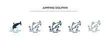 Jumping Dolphin Icon In Differ...