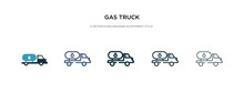 Gas Truck Icon In Different St...